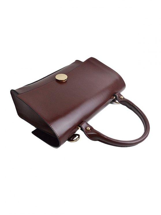 Faux Leather Flapped Handbag - CLARET  Mobile