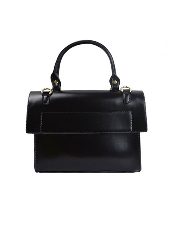 Faux Leather Flapped Handbag - BLACK  Mobile