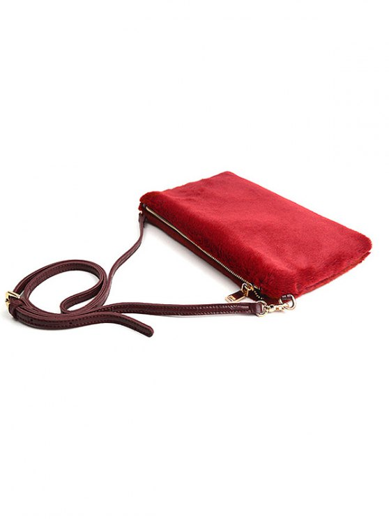 Faux Fur Embossed Panel Clutch Bag - CLARET  Mobile