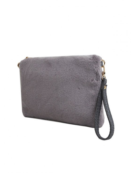 Faux Fur Embossed Panel Clutch Bag - GRAY  Mobile