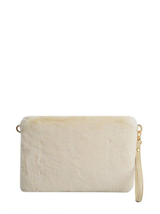 Faux Fur Embossed Panel Clutch Bag - BEIGE  Mobile
