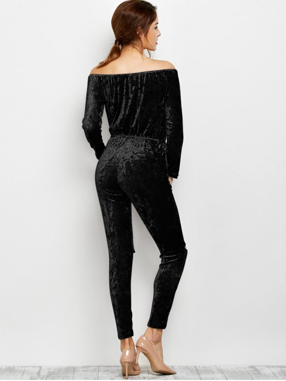 Ripped Off Shoulder Velvet Jumpsuit - BLACK L Mobile