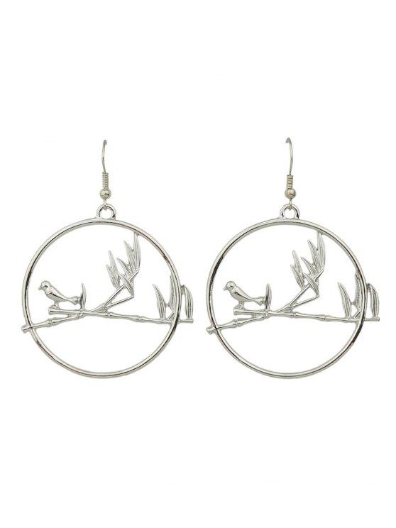 Boucles d'oreilles en forme de cercle des oiseaux - Argent
