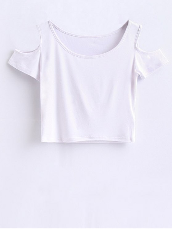Cold Shoulder Crop Tee - WHITE S Mobile