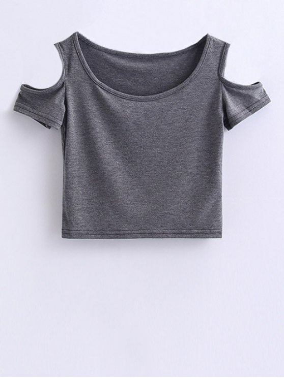 Cold Shoulder Crop Tee - GRAY M Mobile