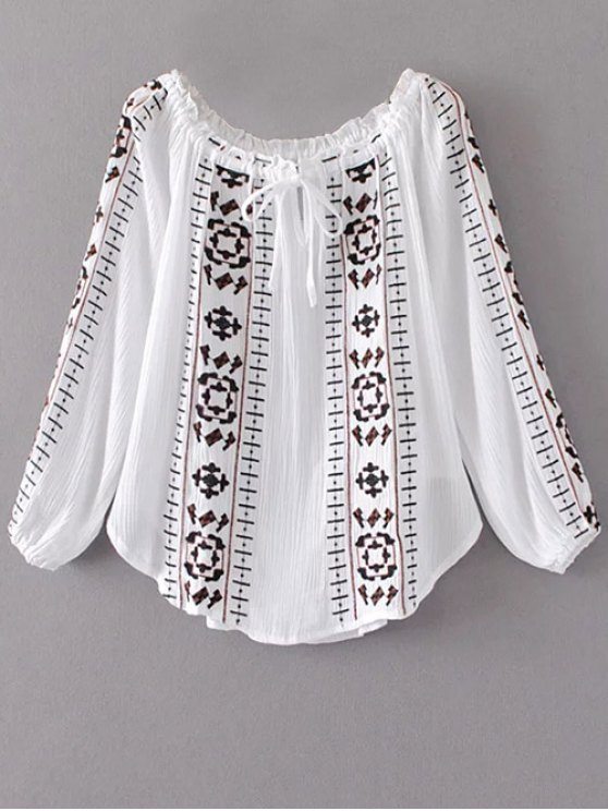 Embroidered Off Shoulder Blouse - WHITE L Mobile