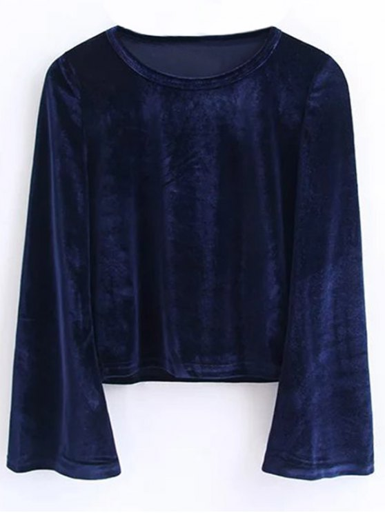 Vintage Flared Sleeve Velvet Crop Top - CADETBLUE S Mobile