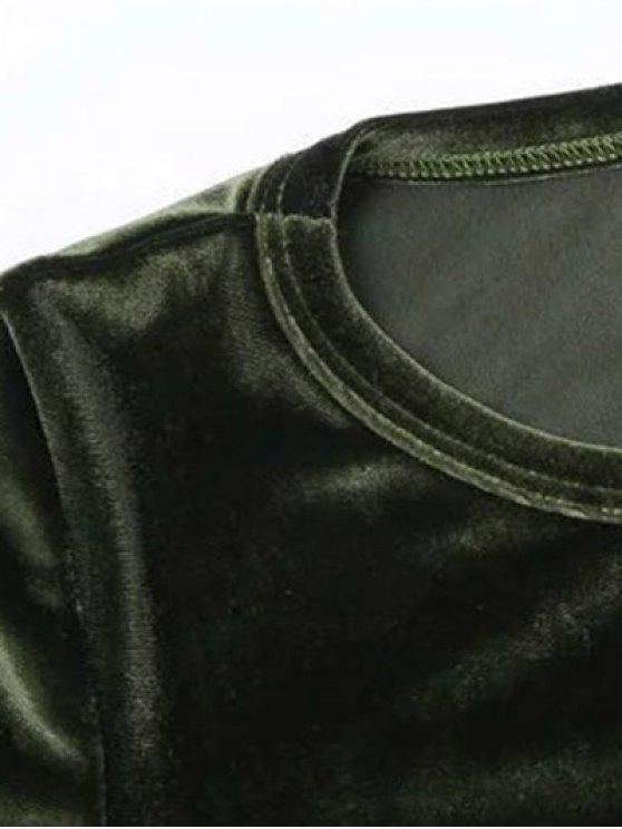 Vintage Flared Sleeve Velvet Crop Top - PEACOCK BLUE S Mobile