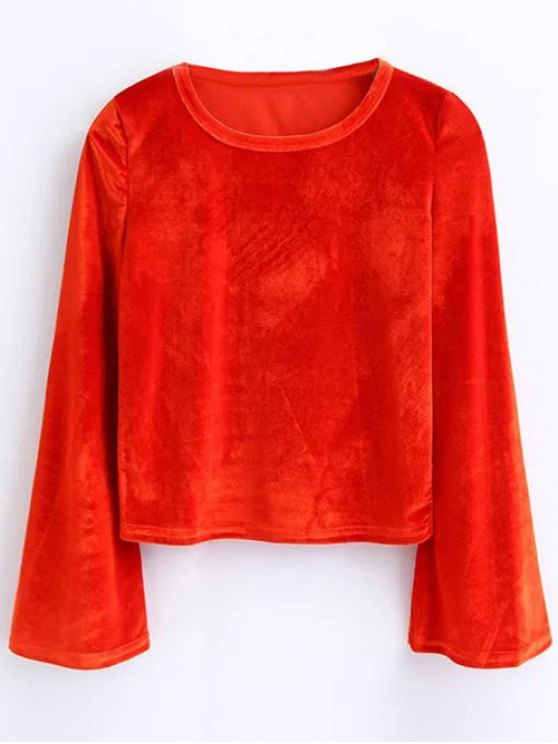 Vintage Flared Sleeve Velvet Crop Top - JACINTH M Mobile
