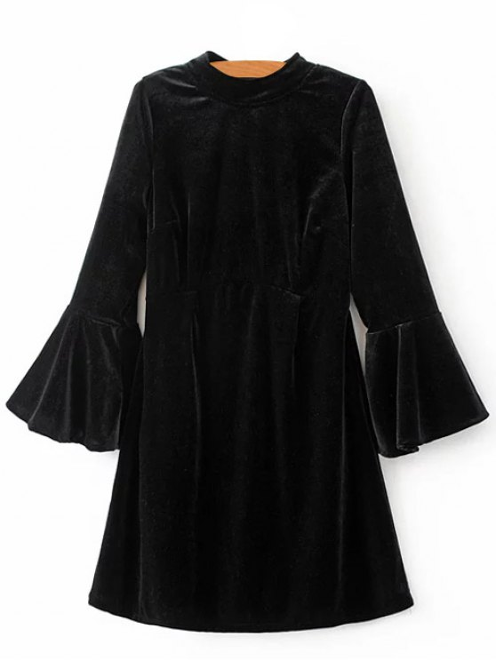 Cut Out Bell Sleeve Velvet Dress - BLACK M Mobile