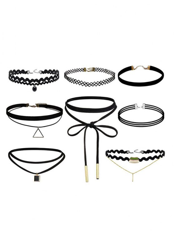 Geometric Vintage Bar Choker Necklace Set - BLACK  Mobile