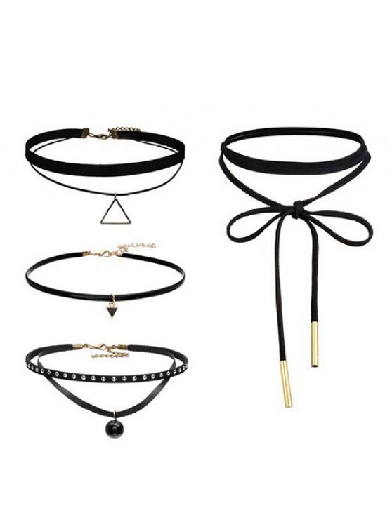 best Geometric Vintage Choker Necklace Set - BLACK