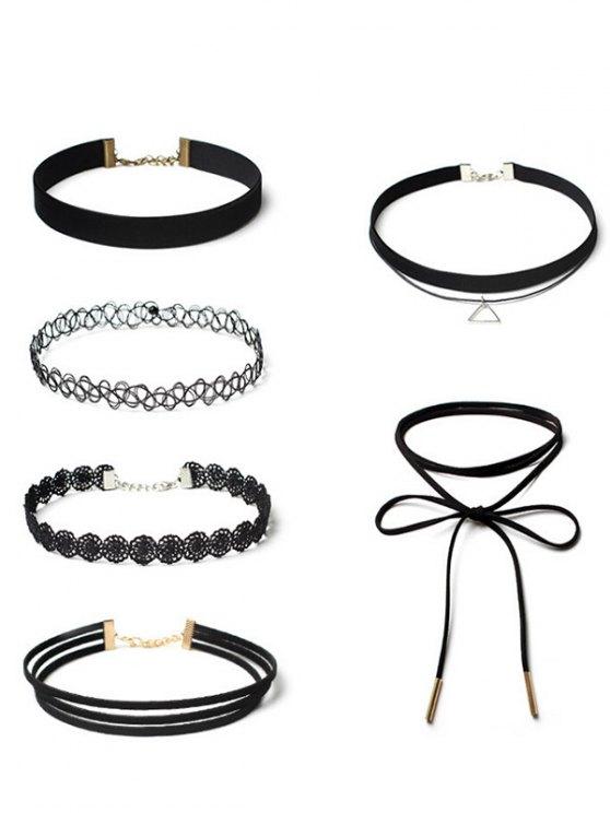 Flower Vintage Triangle Choker Necklace Set - BLACK  Mobile