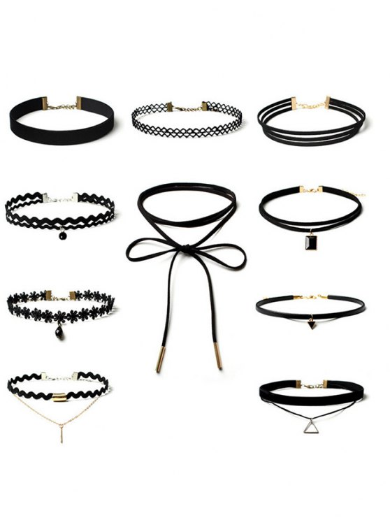 latest Triangle Flower Bar Choker Necklace Set - BLACK