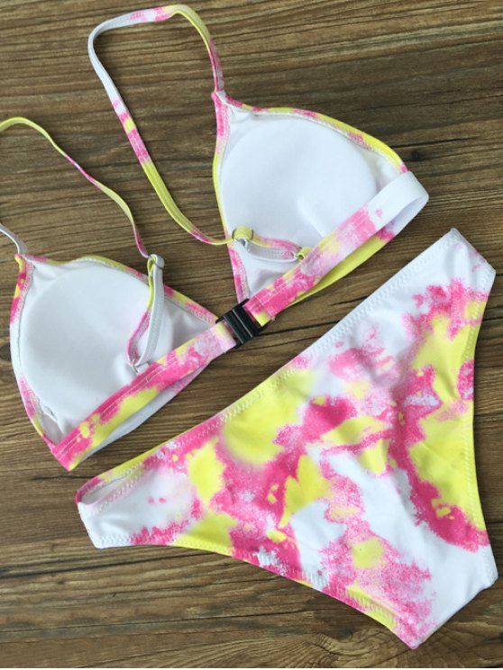 Plunging Neck Tie Dye Bikini Set - YELLOW L Mobile