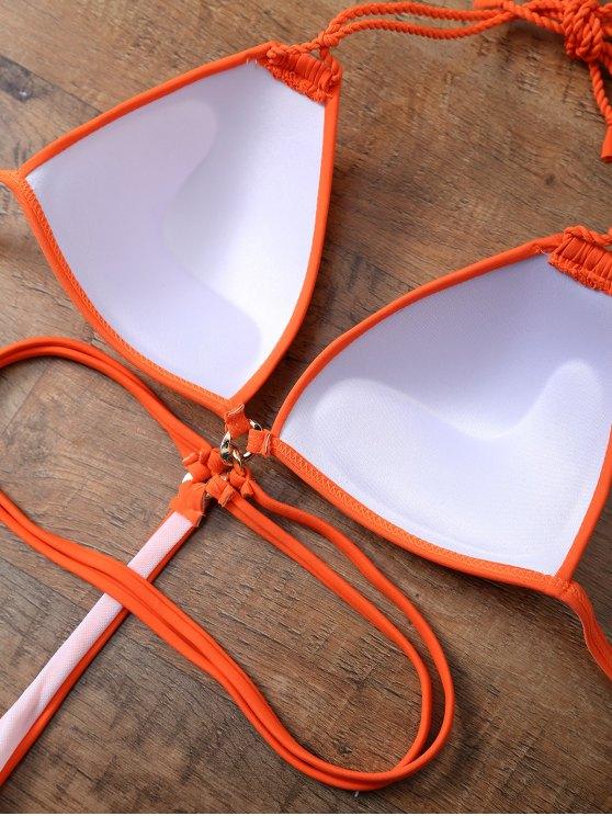 Strappy High Cut One-Piece Swimwear - ORANGEPINK L Mobile