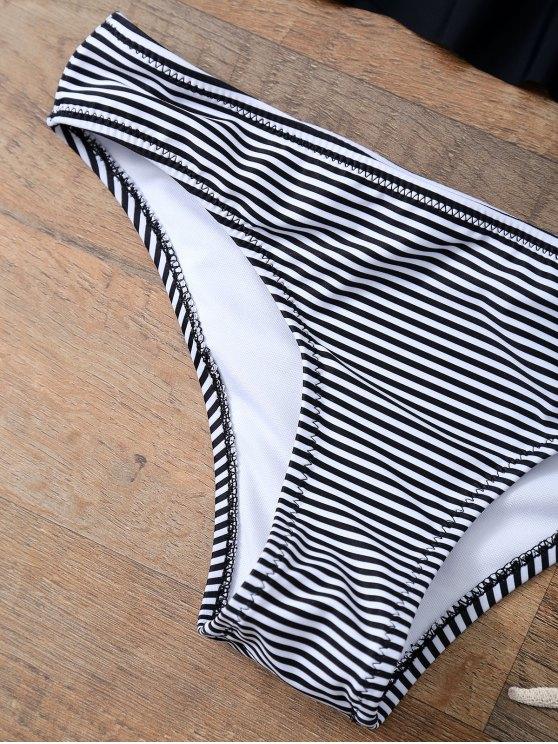 Flounced Striped Bikini Set - BLACK L Mobile