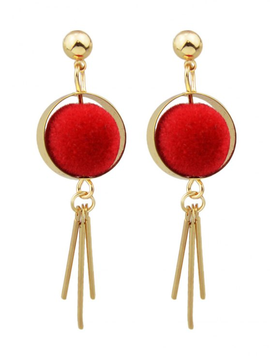 Ball Circle Bar Earrings - RED  Mobile