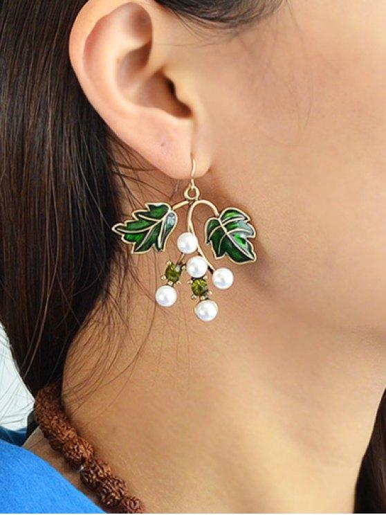 Faux Pearl Rhinestone Tree Leaves Earrings -   Mobile