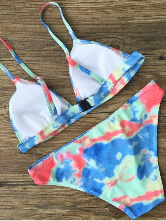 Plunging Neck Tie Dye Bikini Set - GREEN L Mobile