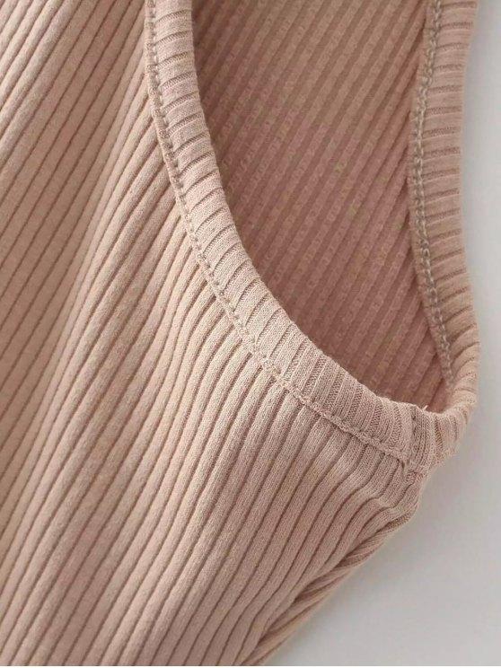 Slit Sleeveless Bodycon Ribbed Dress - BURGUNDY ONE SIZE Mobile