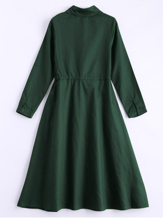 Long Sleeve Drawstring Shirt Dress - ARMY GREEN ONE SIZE Mobile