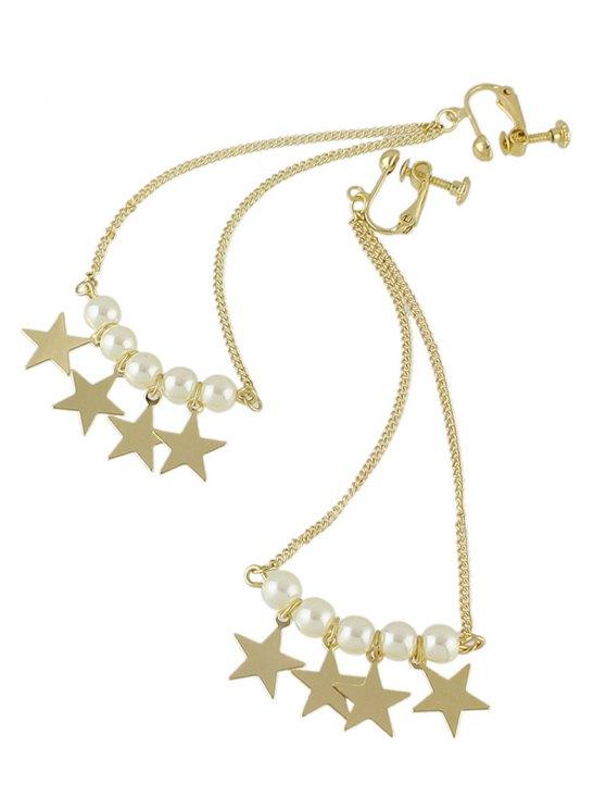Faux Pearl Star Drop Earrings - GOLDEN  Mobile