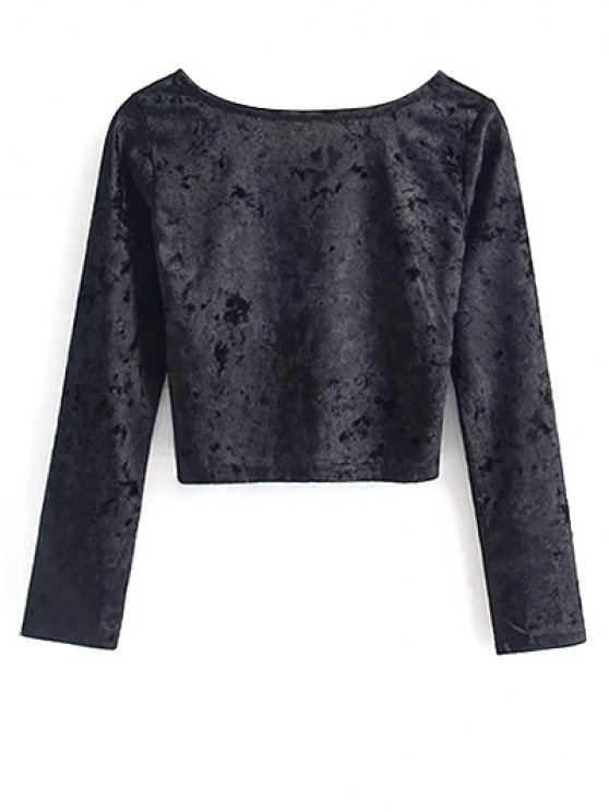 Vintage Scoop Neck Velvet Crop Top - BLACK M Mobile