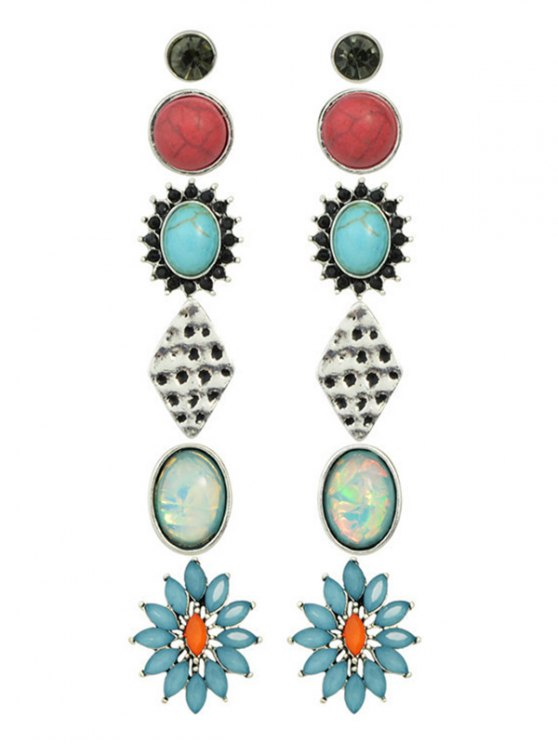 Rhinestone Artificial Gem Turquoise Earring Set - COLORMIX  Mobile
