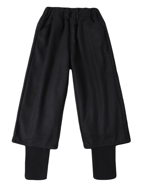 Elastic Waist Layered Wide Leg Pants - BLACK XL Mobile