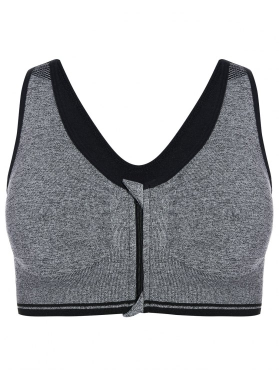 Zip Front Cotton Sports Bra - GRAY M Mobile