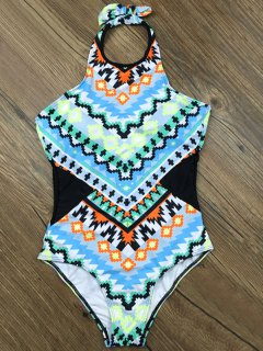 Cut Out Geometric One-Piece Swimwear - Light Blue S