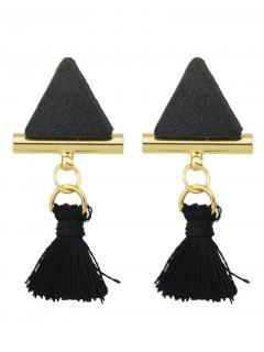Tassel Triangle Earrings - Black
