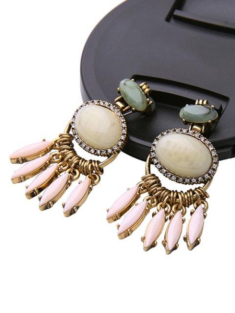 new Faux Gemstone Fringed Earrings - GOLDEN  Mobile