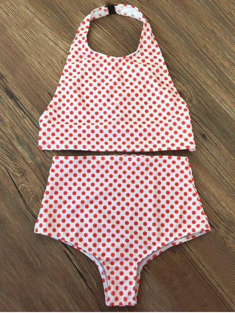 chic High Waisted Polka Dot Vintage Bikini - RED M Mobile