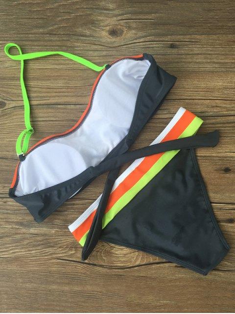 fancy Chevron Stripe Bandeau Banded Bikini - MULTICOLOR S Mobile