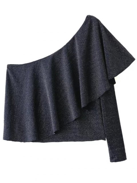 affordable One Shoulder Casual Flounced T-Shirt - DEEP GRAY L Mobile
