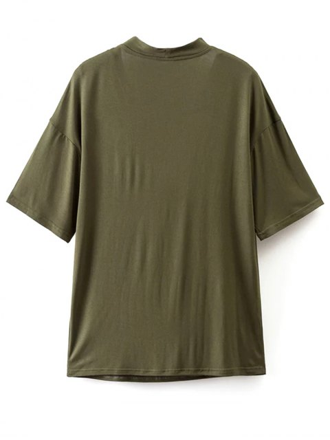 fashion Choker Drop Shoulder T-Shirt - GREYISH GREEN M Mobile