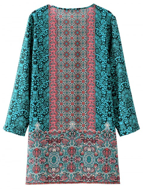 online Printed Vintage Long Sleeve A-Line Dress - GREEN S Mobile