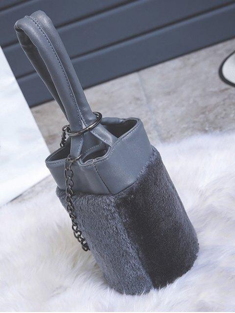 online Chains Plush Panel Bucket Bag - GRAY  Mobile