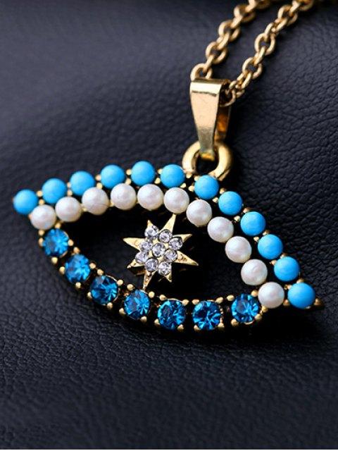 womens Rhinestone Eye Necklace - GOLDEN  Mobile