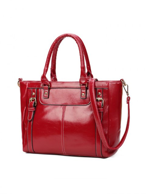 shop Buckles Embellished PU Leather Handbag - WINE RED  Mobile