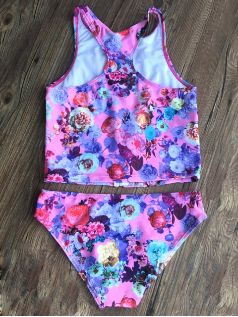 trendy Floral Zippered Swimsuit - FLORAL XL Mobile
