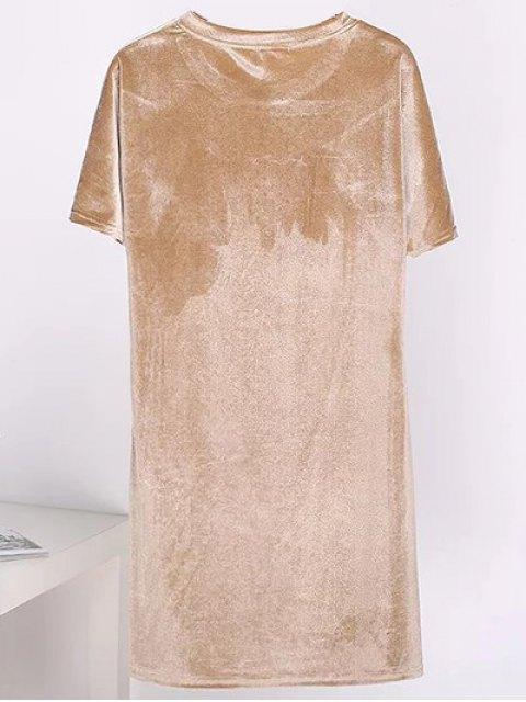 shop Velvet Mini Shift Layering Dress - GOLDEN ONE SIZE Mobile