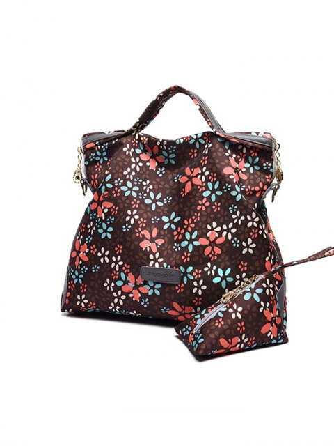 trendy Printed Handbag With Coin Purse - BROWN  Mobile