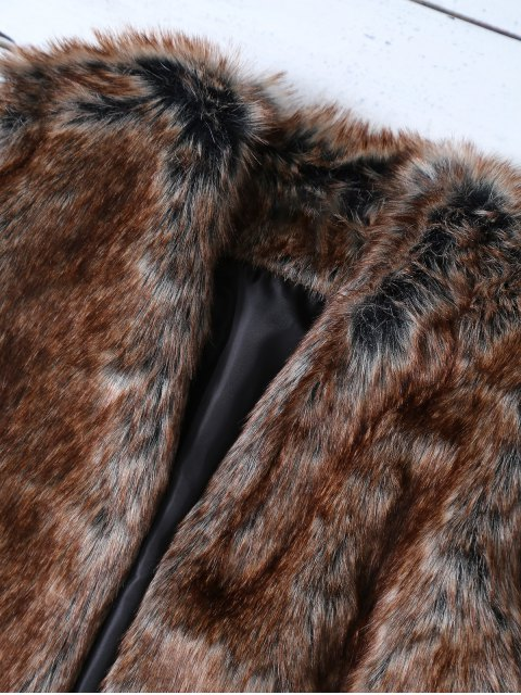 latest Faux Fur Open Front Waistcoat - TAUPE M Mobile