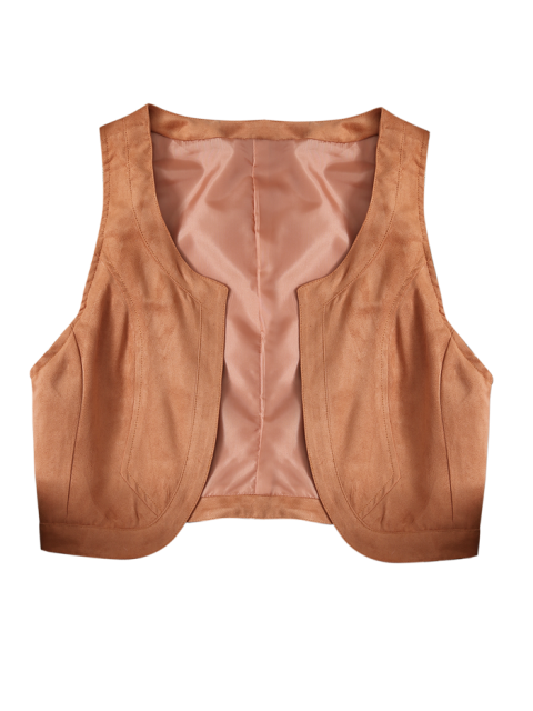 fashion Cropped Waistcoat - BROWN 2XL Mobile