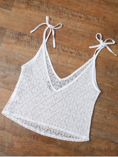 unique V Neck Backless Lace String Top - WHITE M Mobile