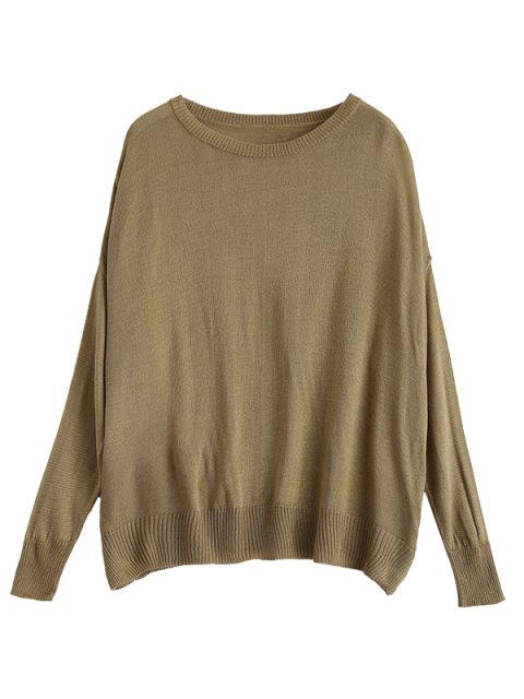 women's Batwing Sleeve Drop Shoulder Knitwear - BROWN S Mobile
