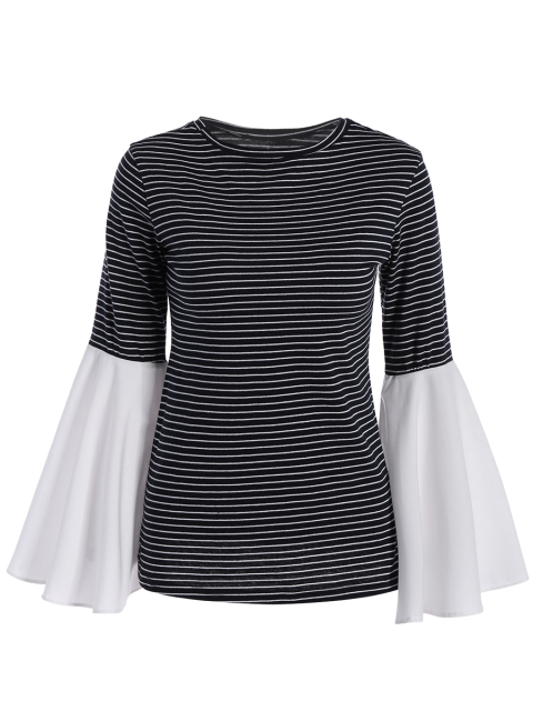 ladies Flare Sleeve Striped T-Shirt - STRIPE 2XL Mobile